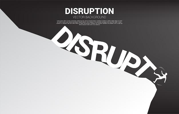 Sylwetka biznesmen spada z klifu przez załamanie zakłócenia. koncepcja kryzysu z zakłóceń w działalności gospodarczej