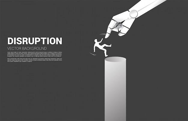 Sylwetka biznesmen spada z wykresu słupkowego. koncepcja kryzysu spowodowanego zakłóceniem działalności przez sztuczną inteligencję