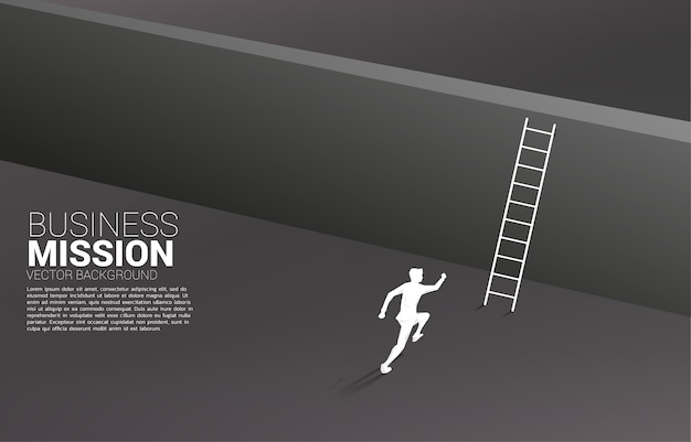 Sylwetka biznesmena biegnie przez ścianę z drabiną.