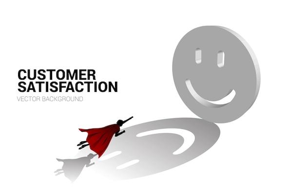 Sylwetka biznesmena lecącego do 3d uśmiech ikona oceny koncepcji zadowolenia klienta rati klienta