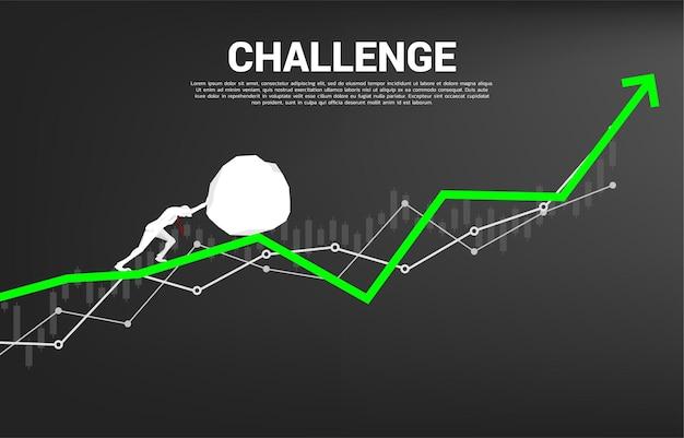 Sylwetka biznesmena pchanie big rocka na wykresie wzrostu. koncepcja wyzwania biznesowego i pracy zespołowej.