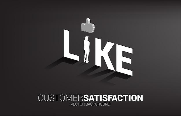 Sylwetka biznesmena pozycja z 3d kciukiem w górę ikony wewnątrz jak sformułowania