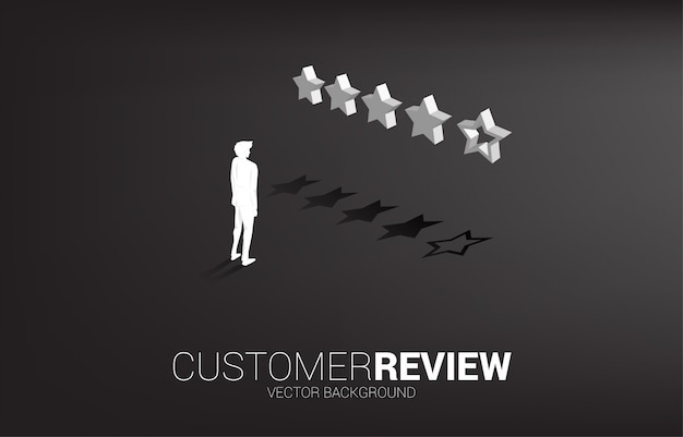 Sylwetka biznesmena pozycja z 3d oceny klienta gwiazdą.