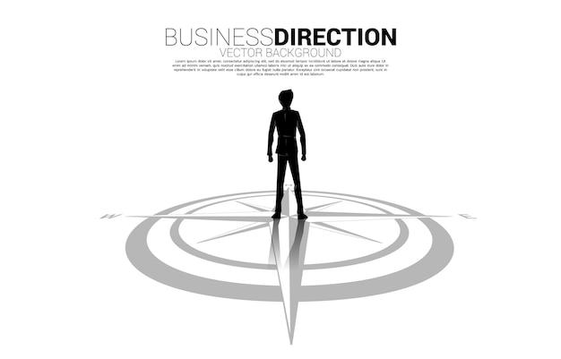Sylwetka biznesmena stojącego w centrum kompasu na podłodze. koncepcja ścieżki kariery i kierunku biznesowego