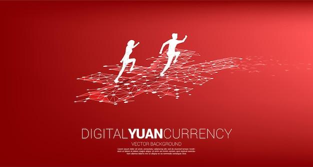 Sylwetka biznesmena z linii kropka pieniądze yuan połączyć wielokąt. koncepcja cyfrowego juana finansowego i bankowego.