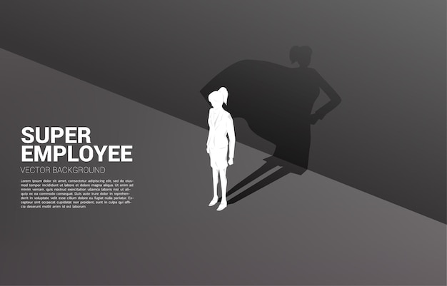Sylwetka bizneswoman i jej cień superbohatera. koncepcja władzy