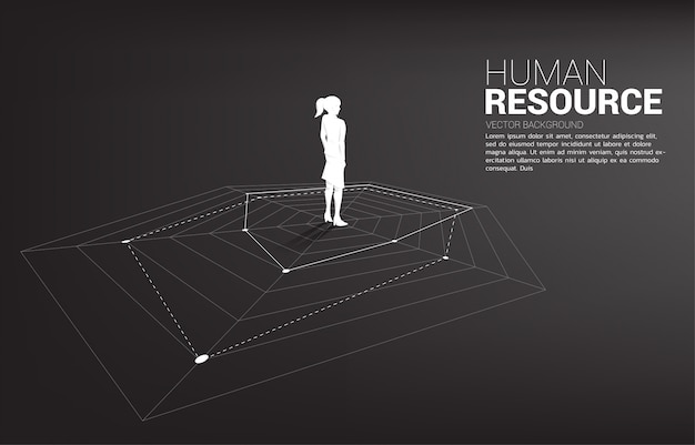 Sylwetka bizneswoman pozycja na pająk mapie. koncepcja idealnej rekrutacji. zasoby ludzkie. postawić właściwego człowieka na właściwej pracy.