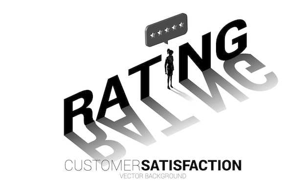 Sylwetka bizneswoman stojący z gwiazdą oceny klientów 3d w dymku. koncepcja satysfakcji klienta, ocena i ranking klientów.