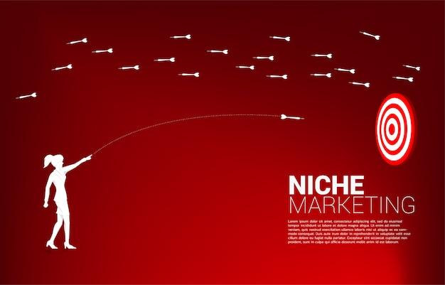 Sylwetka bizneswoman wyrzuca strzałkę w rzutki, aby uderzyć w tarczę z innej strony. koncepcja biznesowa marketingu niszowego, targetowania i klienta. wizja firmy.