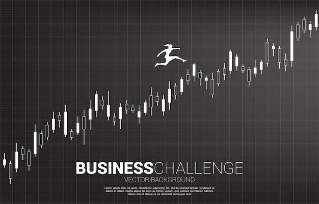 Sylwetka bizneswomanu doskakiwanie na narastającym świeczka wykresie. pojęcie ludzi gotowych do rozpoczęcia kariery i biznesu