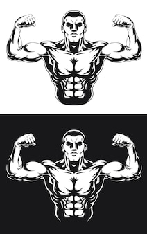 Sylwetka bodybuilding pose front double biceps