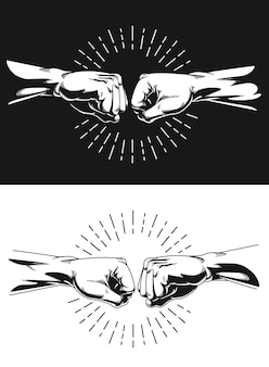 Sylwetka bro fist bump handshake knuckle