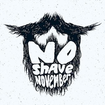 Sylwetka brody z nadrukiem napisów no shave november