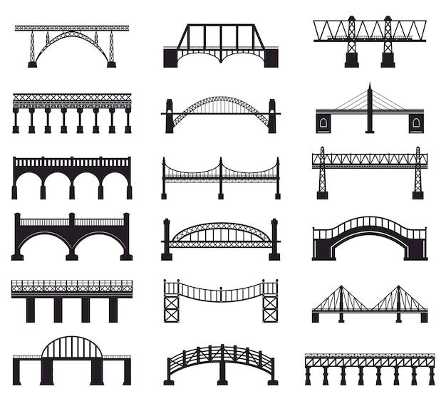 Sylwetka budowy mostu. budynek architektury mostu rzecznego, zestaw ikon ilustracji sylwetka jezdni transportu mostu. architektura budowlana, kolejowa i piesza