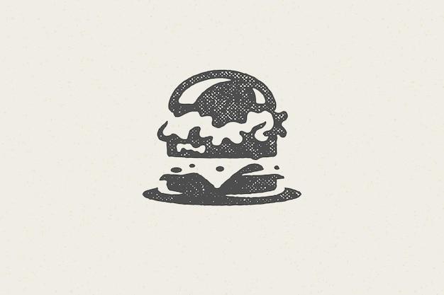 Sylwetka burger jako logo ilustracji usług fast food