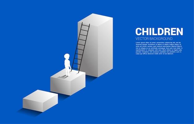 Sylwetka chłopca stojącego na wykresie słupkowym z drabiną. ilustracja edukacji i uczenia się dzieci.