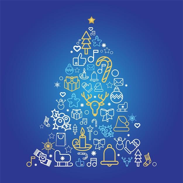 Sylwetka choinki z ikonami liniowych wakacje. kartka z życzeniami jodła ze świątecznymi dekoracjami