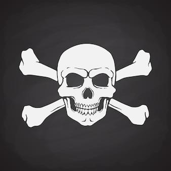 Sylwetka czaszki piratów jolly roger ze skrzyżowanymi kośćmi ilustracja wektorowa znak ostrzegawczy niebezpieczeństwa