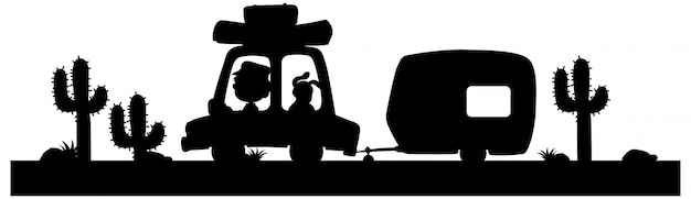 Sylwetka człowieka jazdy wagon z psem