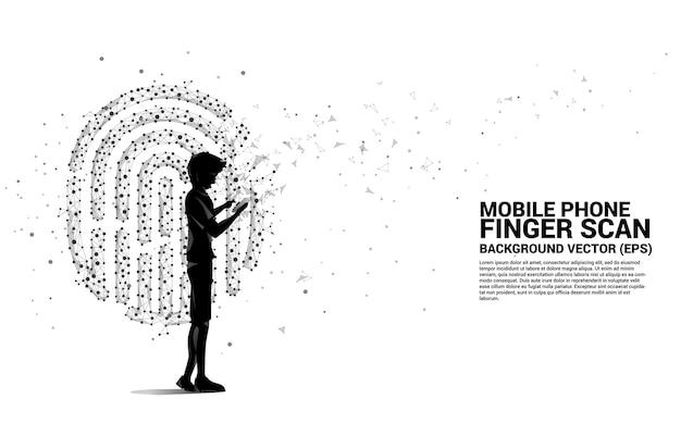Sylwetka człowieka z telefonem komórkowym stojącym ikoną odcisku palca z kropki połącz linię wielokąta. koncepcja technologii skanowania odcisków palców i dostępu do prywatności.