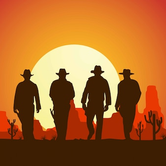 Sylwetka czterech kowbojów chodzących do przodu transparent,