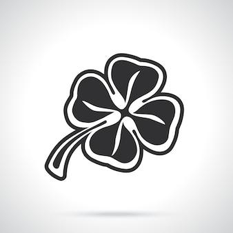 Sylwetka czterolistnej koniczyny szczęśliwy czterolistny symbol powodzenia ilustracja wektorowa