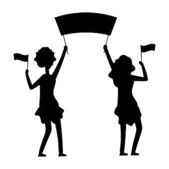 Sylwetka demonstracje kobiet. protest, parada, ilustracja demonstracyjna.