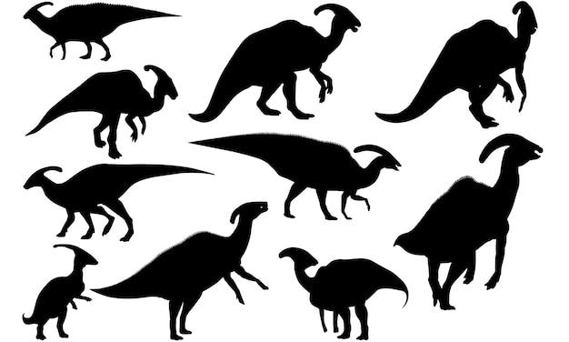 Sylwetka dinozaura parasaurolophus