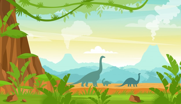 Sylwetka dinozaurów w krajobrazie okresu jurajskiego z górami, wulkanem i roślinami tropikalnymi w stylu płaskiej kreskówki.