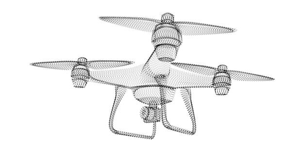 Sylwetka drona składająca się z czarnych kropek i drobinek. szkielet wektor 3d quadrocoptera z teksturą ziarna. abstrakcyjna geometryczna ikona z kropkowaną strukturą na białym tle