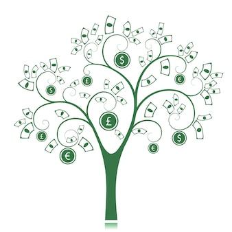 Sylwetka drzewa zielone pieniądze na białym tle