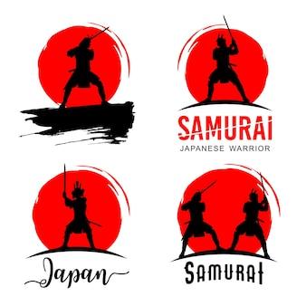 Sylwetka dwóch japońskich samurajów walczących na miecze, ilustracja wektorowa