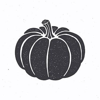 Sylwetka dyni z łodygą ilustracja wektorowa symbol halloween i październikowego festiwalu