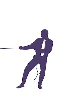Sylwetka działalności człowieka ciągnięcie liny koncepcja konkurencji silny biznesmen