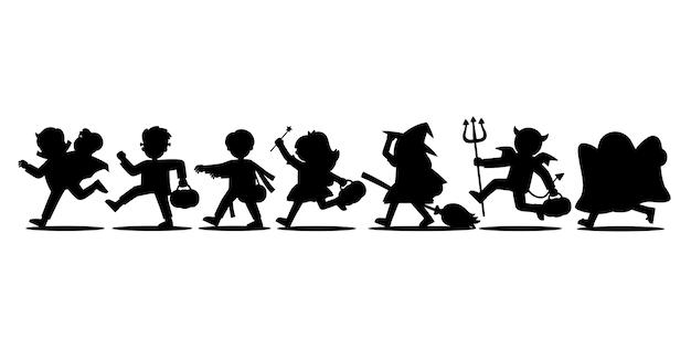 Sylwetka dzieci ubranych w kostiumy na halloween, aby przejść cukierek albo psikus. wesołego halloween. szablon do broszury reklamowej.