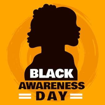 Sylwetka dzień świadomości mężczyzny i kobiety czarny