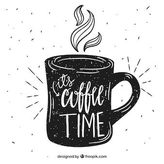 Sylwetka filiżankę kawy z napisem