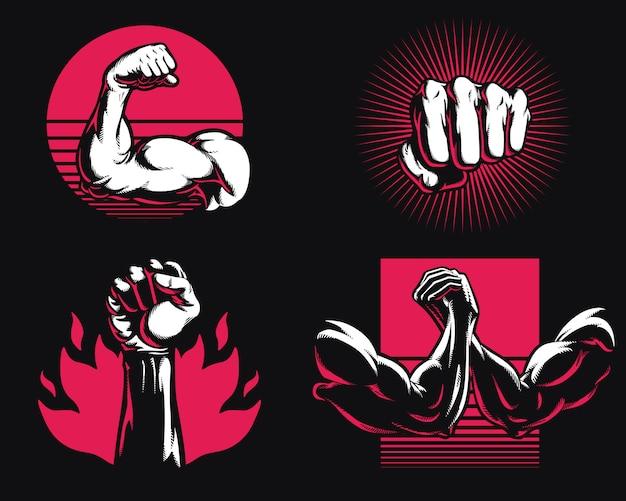 Sylwetka fitness siłownia kulturystyka ramię ręka ikona logo mieszana sztuka walki mma ilustracja