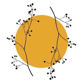 Sylwetka gałęzi drzew o abstrakcyjnym okrągłym kształcie. roślinna grafika na ścianę boho boho. ilustracja wektorowa.