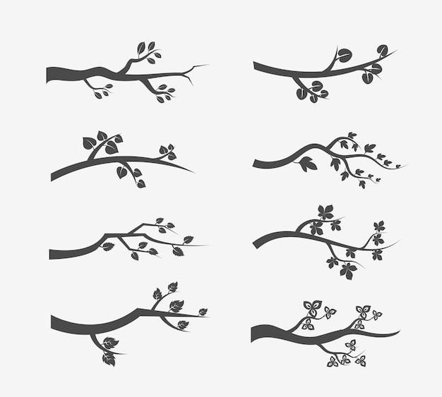 Sylwetka gałęzi drzewa z liśćmi. zestaw ilustracji gałęzi drzewa