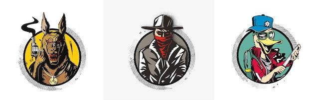 Sylwetka gangstera z bronią w ręku ilustracja wektorowa