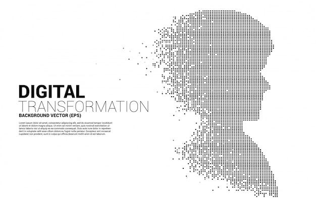 Sylwetka głowy człowieka z transformacji pikseli
