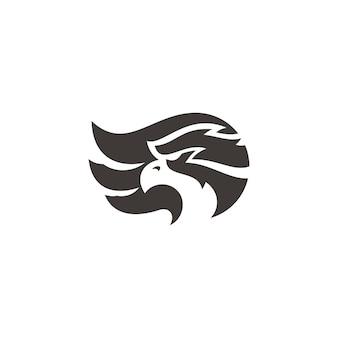 Sylwetka głowy orła sokoła i ilustracja skrzydła projektowanie logo