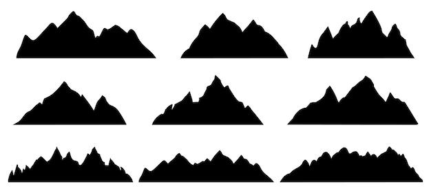 Sylwetka góry. kształt krajobrazu skalistego pasma. wędrówki na szczyty gór, wzgórza i klify. wspinaczka kamień zamontować streszczenie kontur wektor zestaw. ilustracja górski kształt sylwetki, skalisty klif