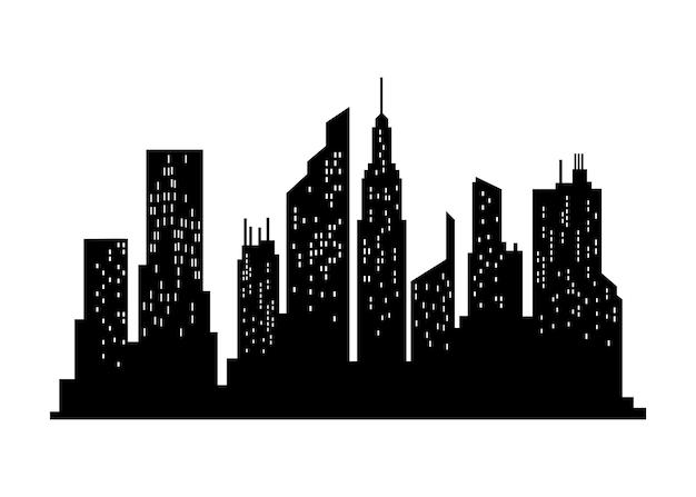 Sylwetka gród. budynek miasta, miasto nocą i sylwetka pozioma panorama miejska. nowoczesny krajobraz miejski. monochromatyczny widok panoramiczny