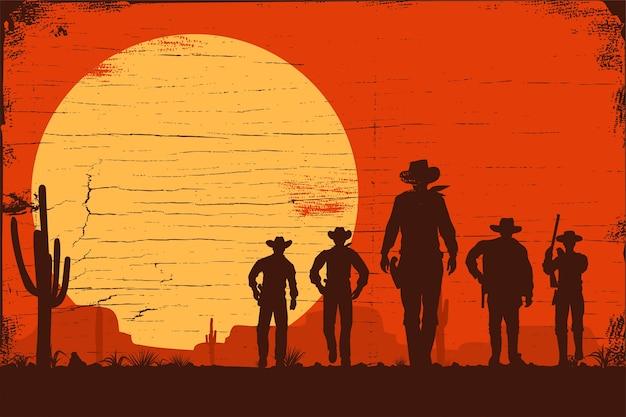 Sylwetka grupy kowbojów