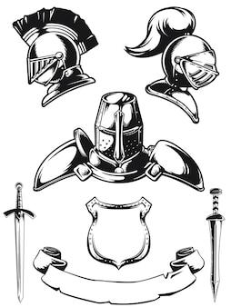 Sylwetka hełm średniowiecznego rycerza grawerowanie na białym tle zestaw konspektu