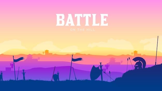 Sylwetka historyczne pole bitwy o zachodzie słońca. bitwa rozrzucona wokół broni i zbroi