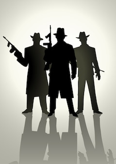 Sylwetka ilustracja gangstera