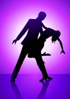 Sylwetka ilustracja pary tańczyli